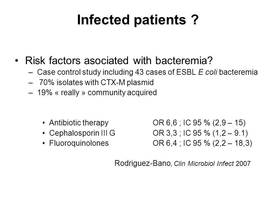 Infected patients Risk factors asociated with bacteremia