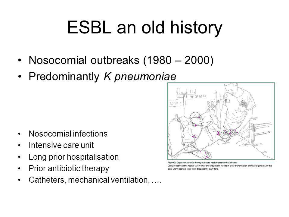 ESBL an old history Nosocomial outbreaks (1980 – 2000)