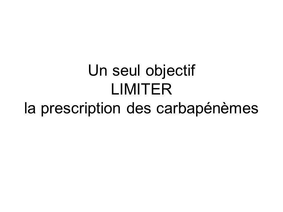 Un seul objectif LIMITER la prescription des carbapénèmes