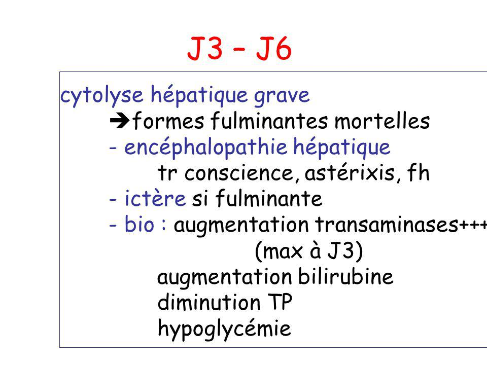 J3 – J6 cytolyse hépatique grave formes fulminantes mortelles