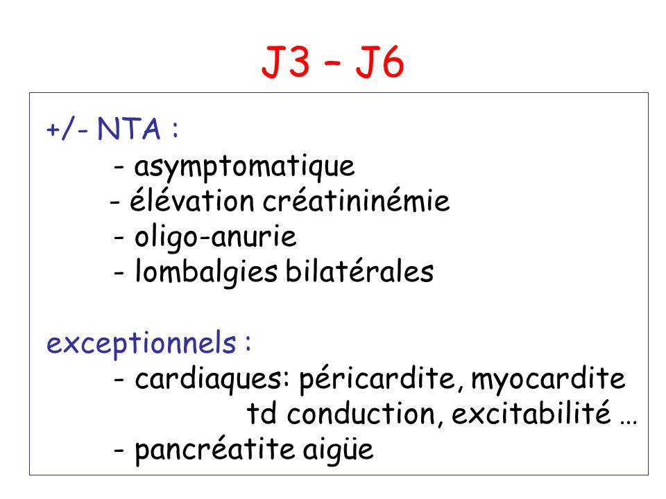 J3 – J6 +/- NTA : - asymptomatique - élévation créatininémie