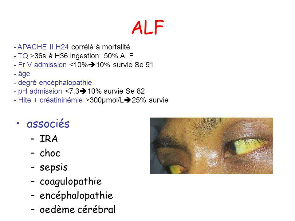 ALF associés IRA choc sepsis coagulopathie encéphalopathie