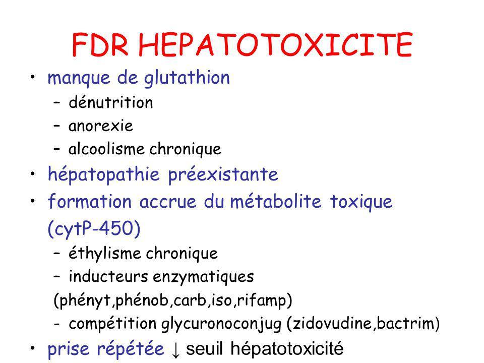 FDR HEPATOTOXICITE manque de glutathion hépatopathie préexistante