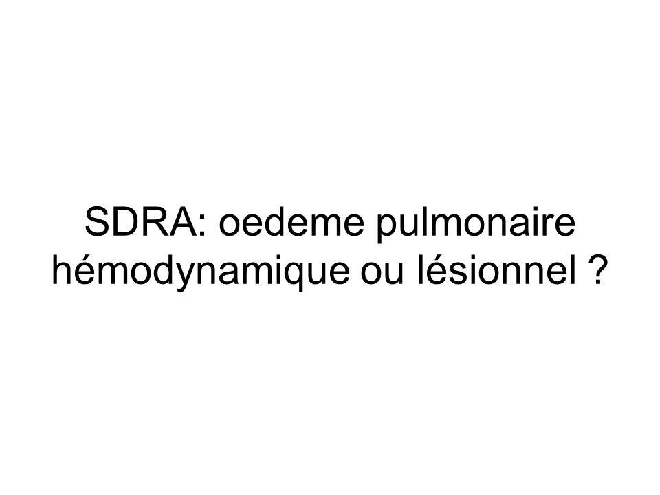 SDRA: oedeme pulmonaire hémodynamique ou lésionnel