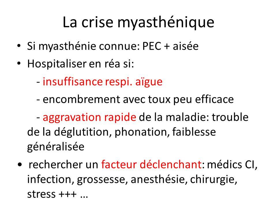 La crise myasthénique Si myasthénie connue: PEC + aisée