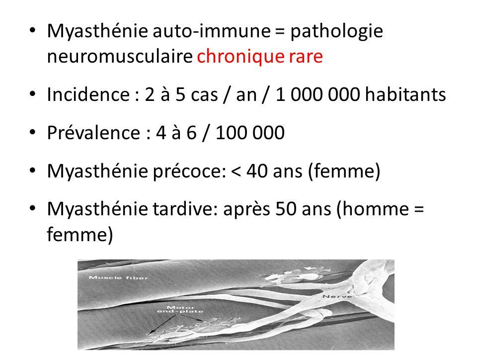 Myasthénie auto-immune = pathologie neuromusculaire chronique rare