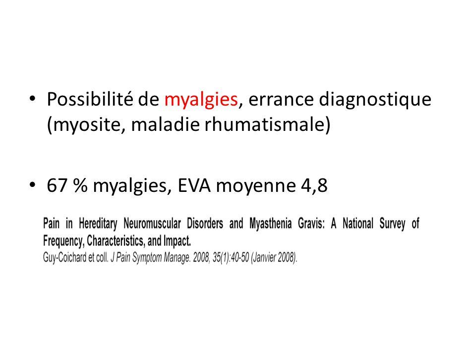 Possibilité de myalgies, errance diagnostique (myosite, maladie rhumatismale)