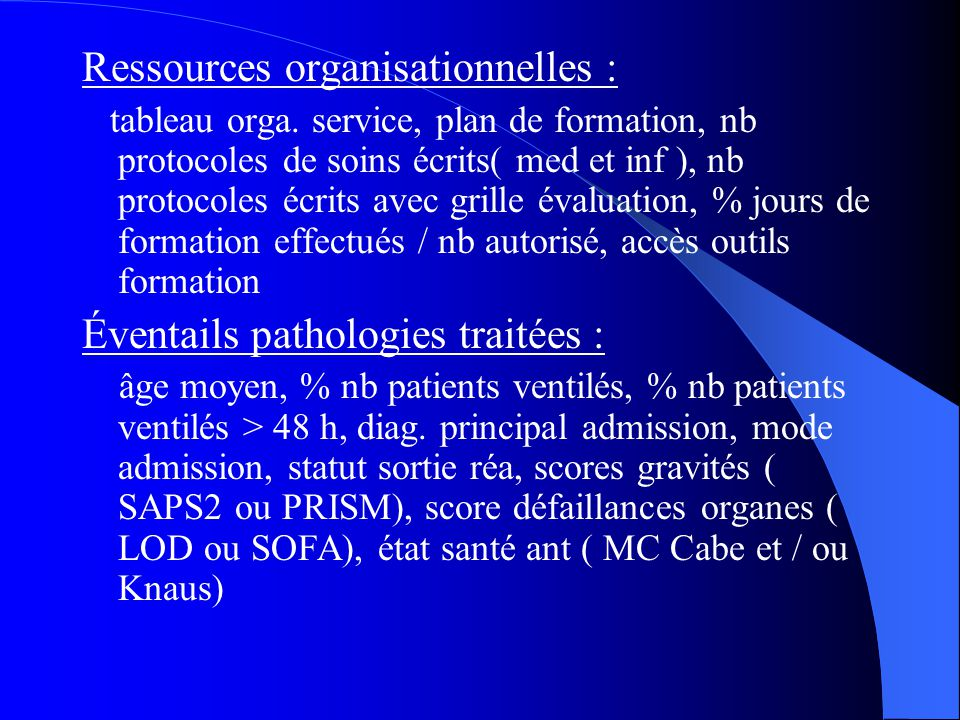 Ressources organisationnelles :