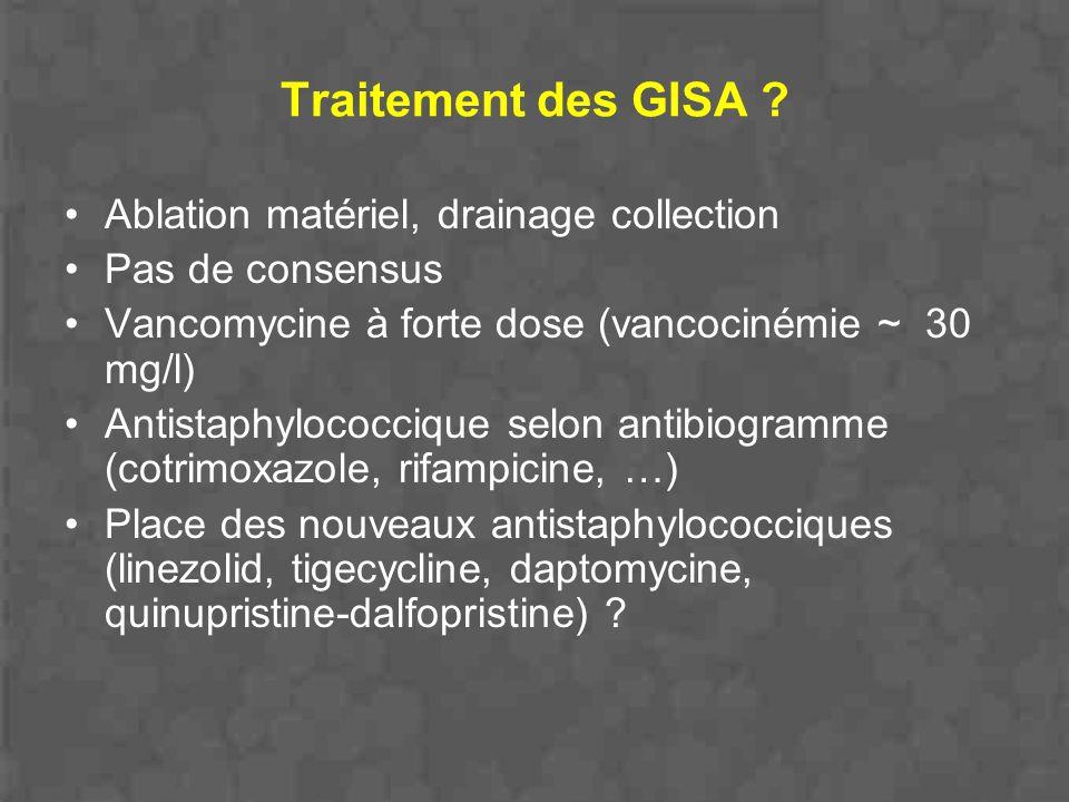 Traitement des GISA Ablation matériel, drainage collection