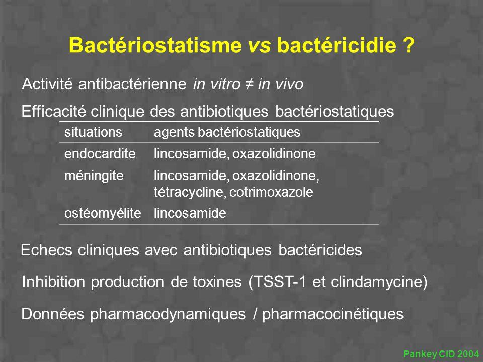 Bactériostatisme vs bactéricidie