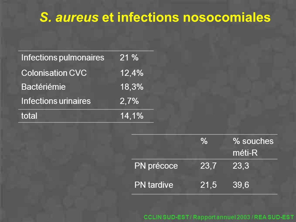 S. aureus et infections nosocomiales