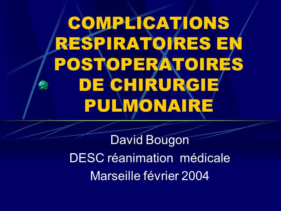 COMPLICATIONS RESPIRATOIRES EN POSTOPERATOIRES DE CHIRURGIE PULMONAIRE