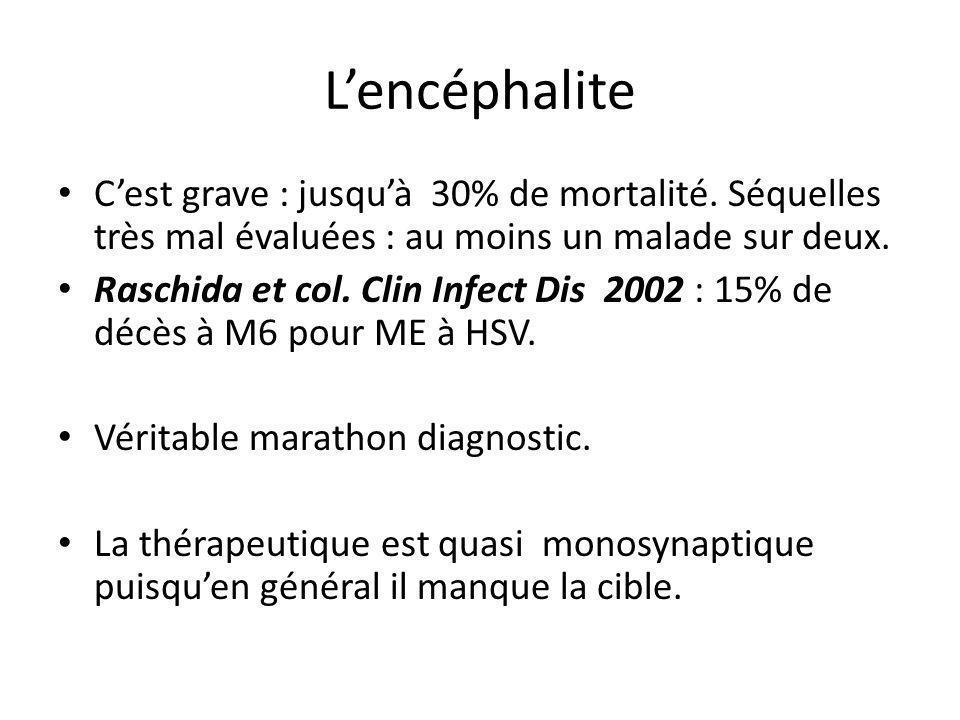 L'encéphalite C'est grave : jusqu'à 30% de mortalité. Séquelles très mal évaluées : au moins un malade sur deux.