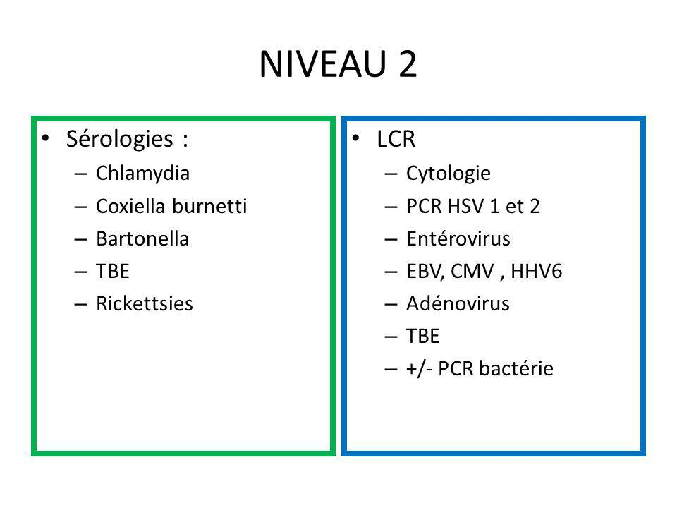 NIVEAU 2 Sérologies : LCR Chlamydia Coxiella burnetti Bartonella TBE