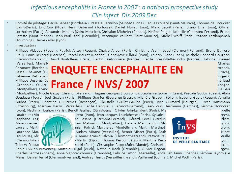 ENQUETE ENCEPHALITE EN France / INVS/ 2007