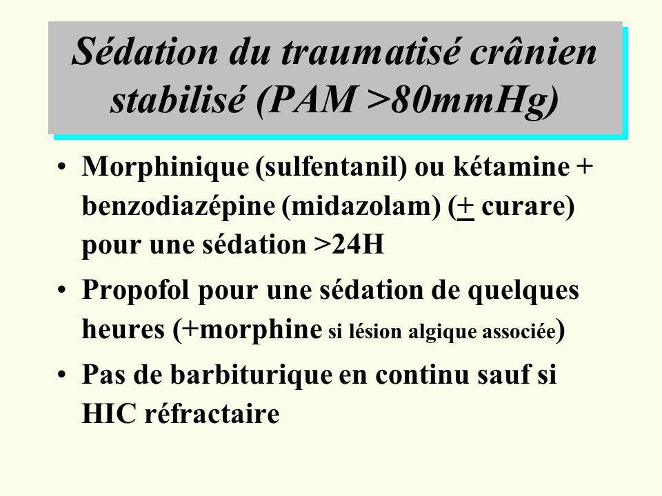 Sédation du traumatisé crânien stabilisé (PAM >80mmHg)