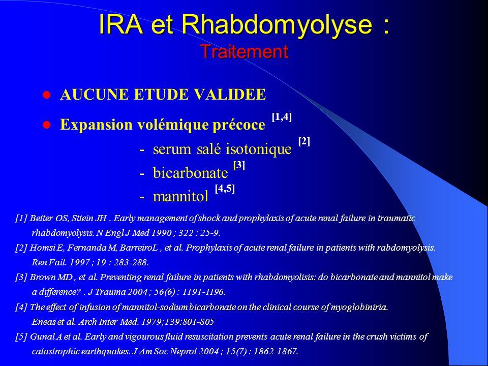 IRA et Rhabdomyolyse : Traitement