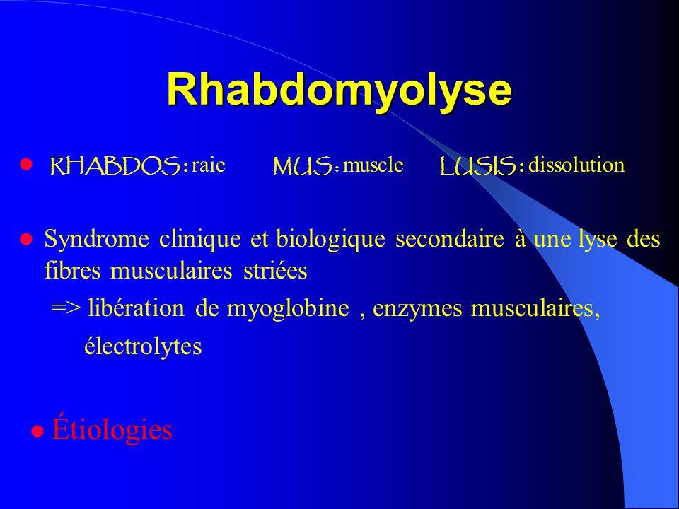 Rhabdomyolyse RHABDOS : raie MUS : muscle LUSIS : dissolution