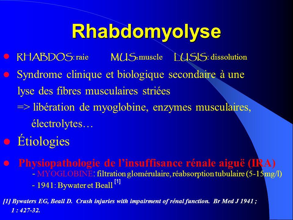 Rhabdomyolyse Étiologies RHABDOS: raie MUS: muscle LUSIS: dissolution
