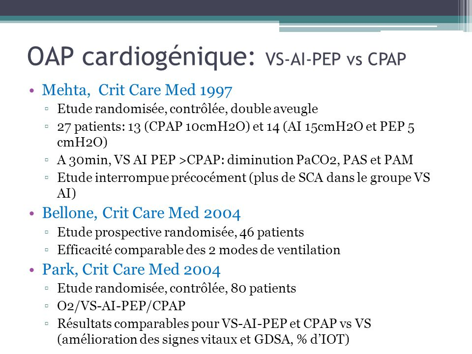 OAP cardiogénique: VS-AI-PEP vs CPAP