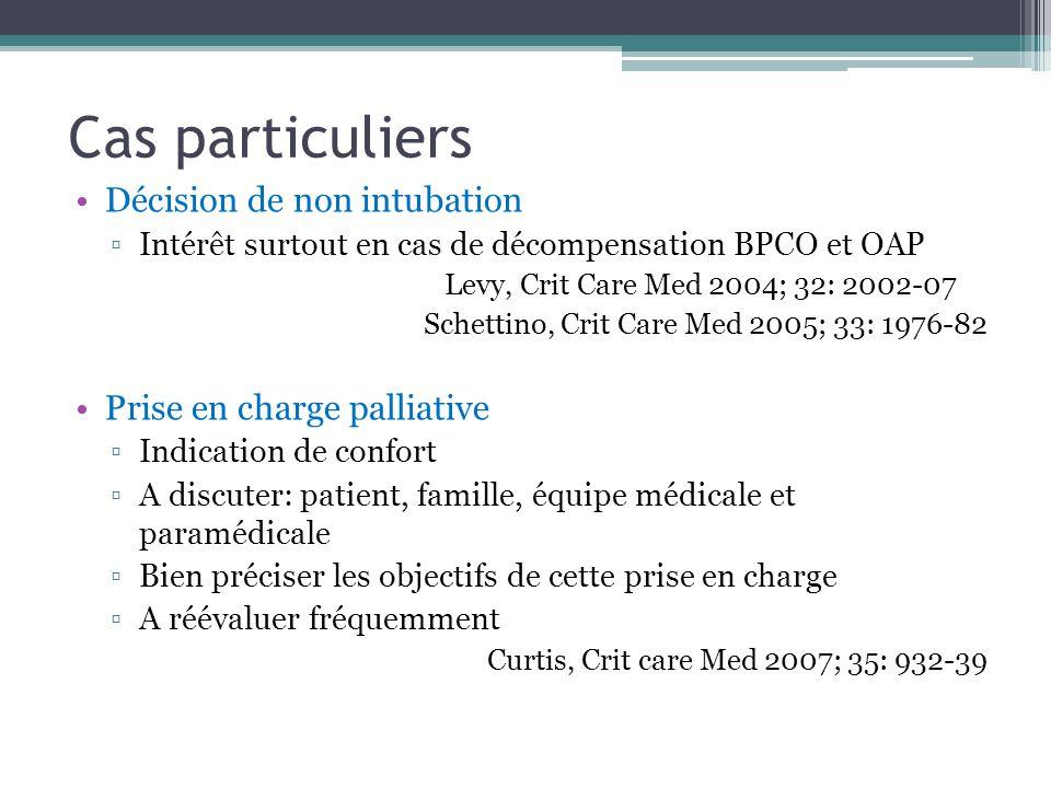 Cas particuliers Décision de non intubation Prise en charge palliative