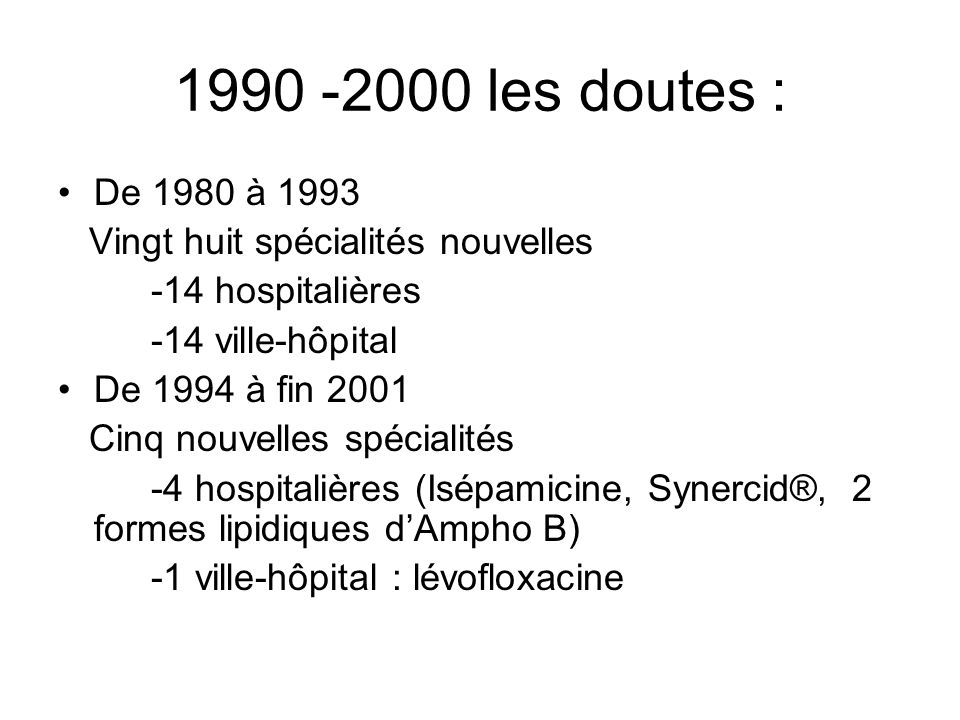 1990 -2000 les doutes : De 1980 à 1993. Vingt huit spécialités nouvelles. -14 hospitalières. -14 ville-hôpital.