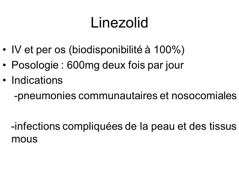 Linezolid IV et per os (biodisponibilité à 100%)