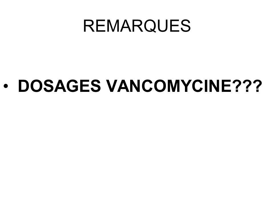 REMARQUES DOSAGES VANCOMYCINE