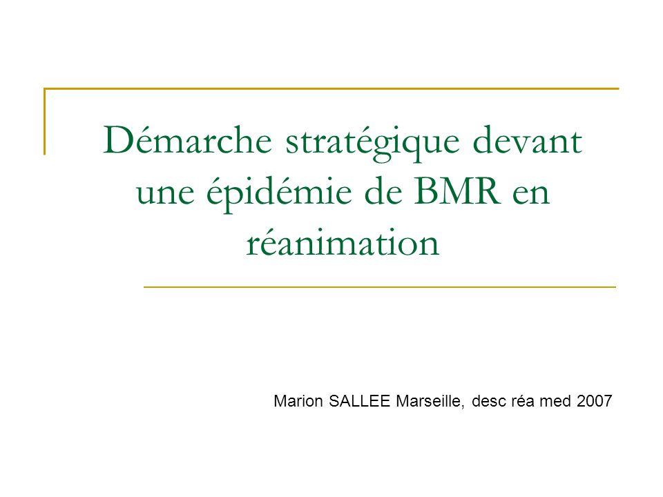 Démarche stratégique devant une épidémie de BMR en réanimation