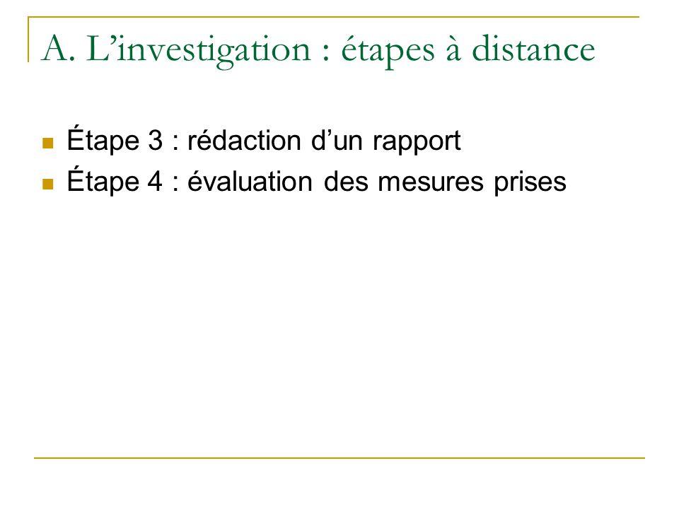 A. L'investigation : étapes à distance