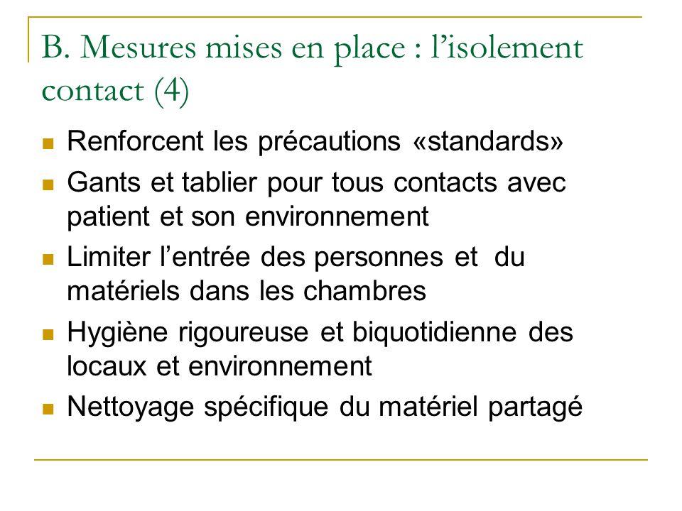 B. Mesures mises en place : l'isolement contact (4)