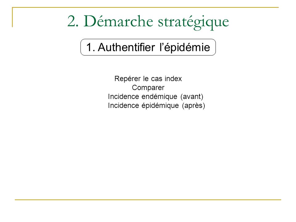 2. Démarche stratégique 1. Authentifier l'épidémie