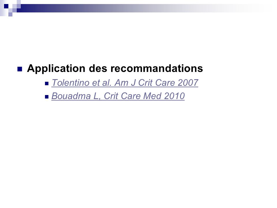 Application des recommandations