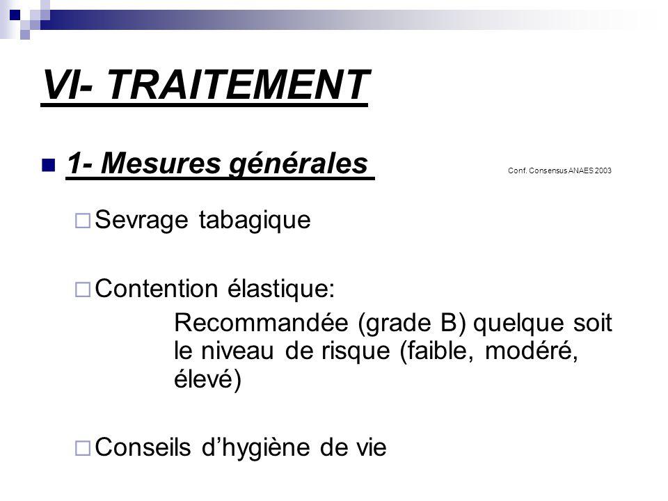 VI- TRAITEMENT 1- Mesures générales Conf. Consensus ANAES 2003