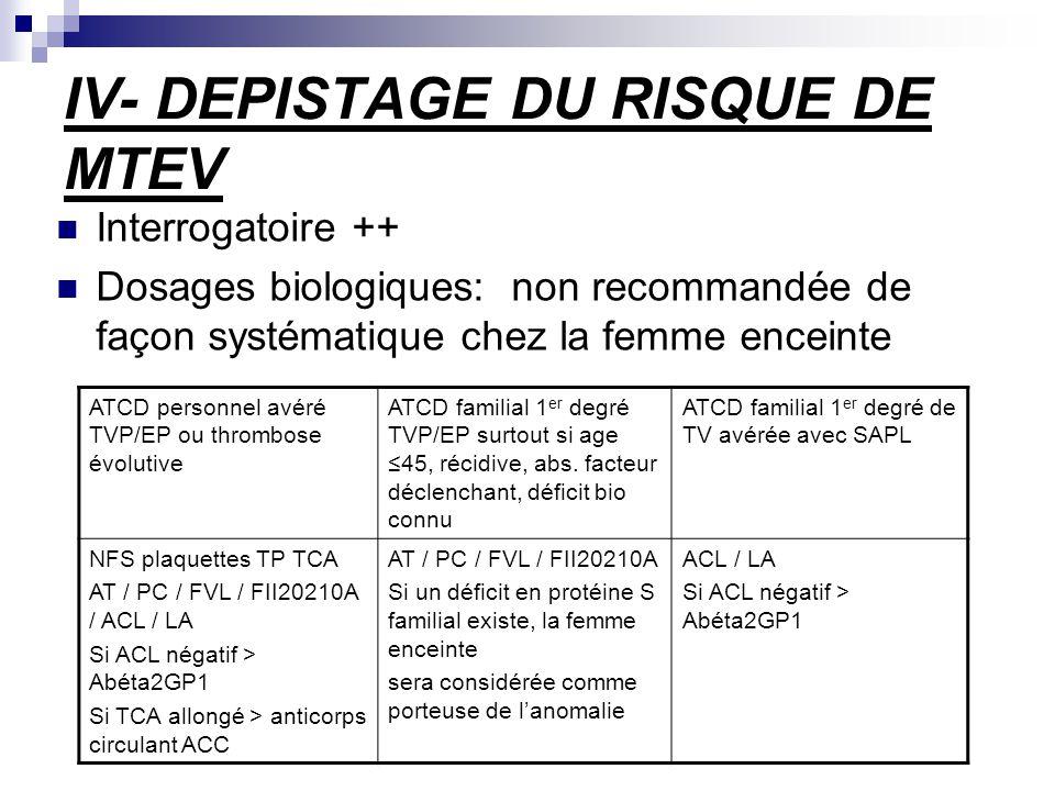 IV- DEPISTAGE DU RISQUE DE MTEV