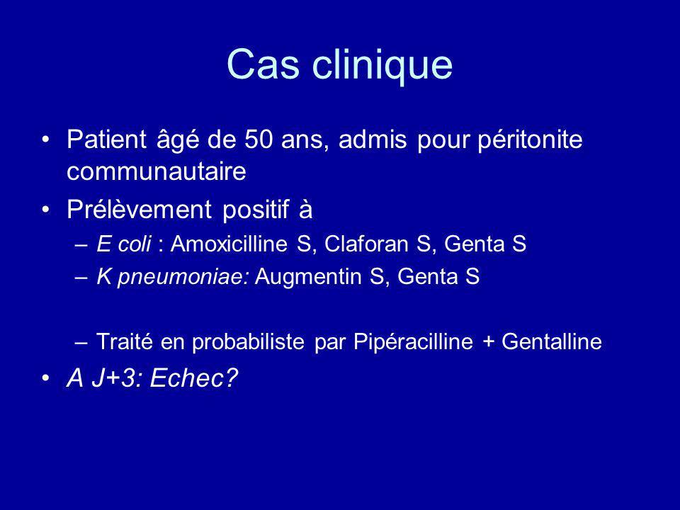 Cas clinique Patient âgé de 50 ans, admis pour péritonite communautaire. Prélèvement positif à. E coli : Amoxicilline S, Claforan S, Genta S.