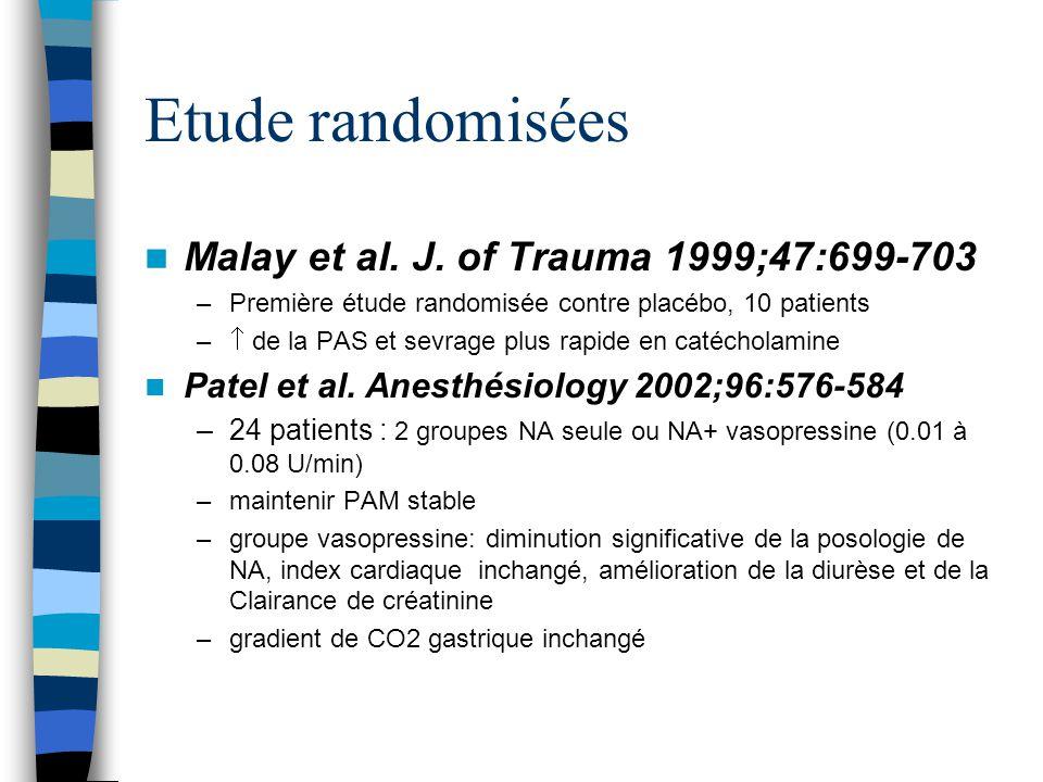 Etude randomisées Malay et al. J. of Trauma 1999;47:699-703