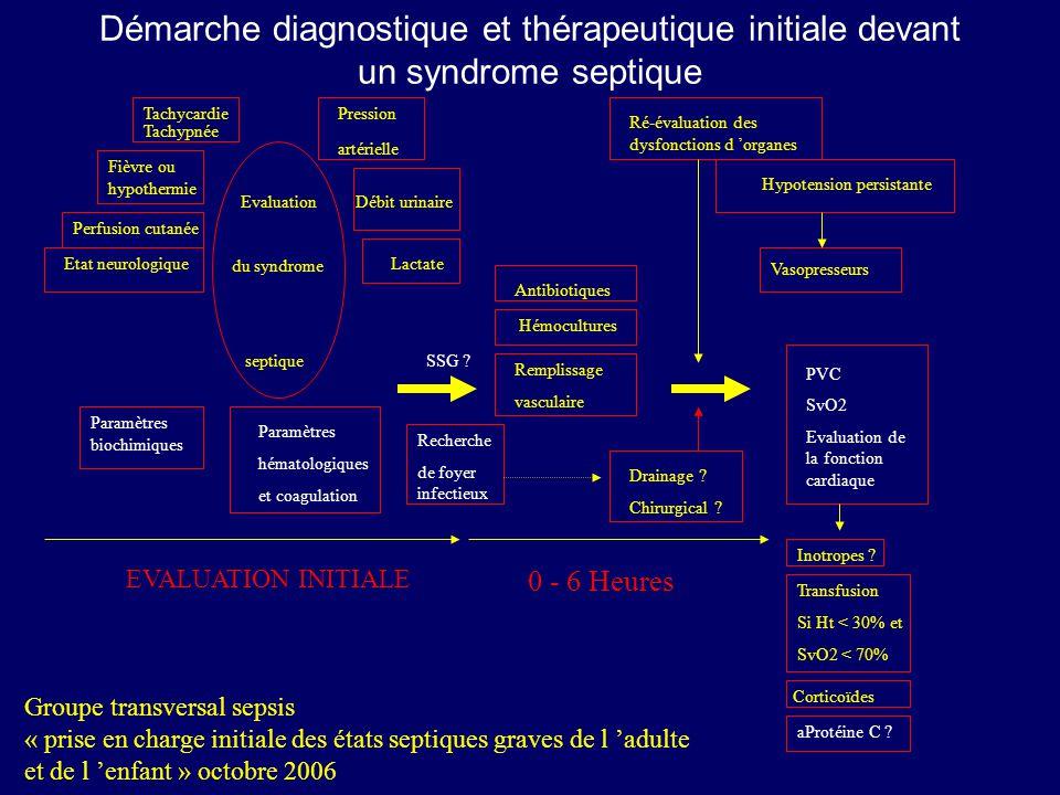 Démarche diagnostique et thérapeutique initiale devant un syndrome septique