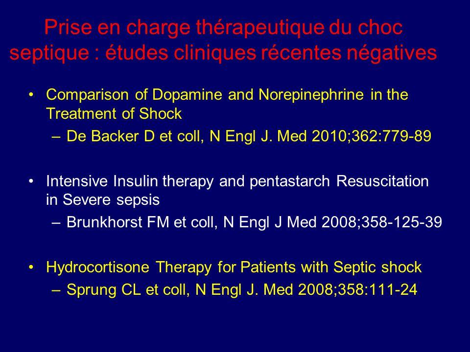 Prise en charge thérapeutique du choc septique : études cliniques récentes négatives
