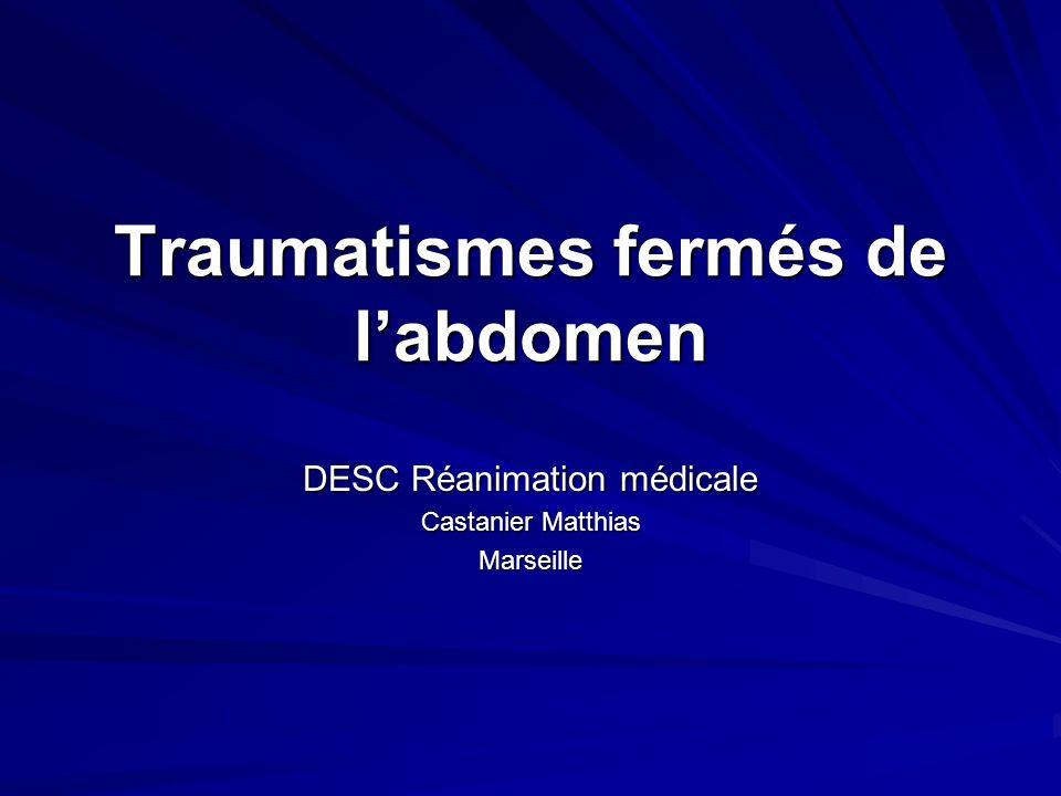 Traumatismes fermés de l'abdomen