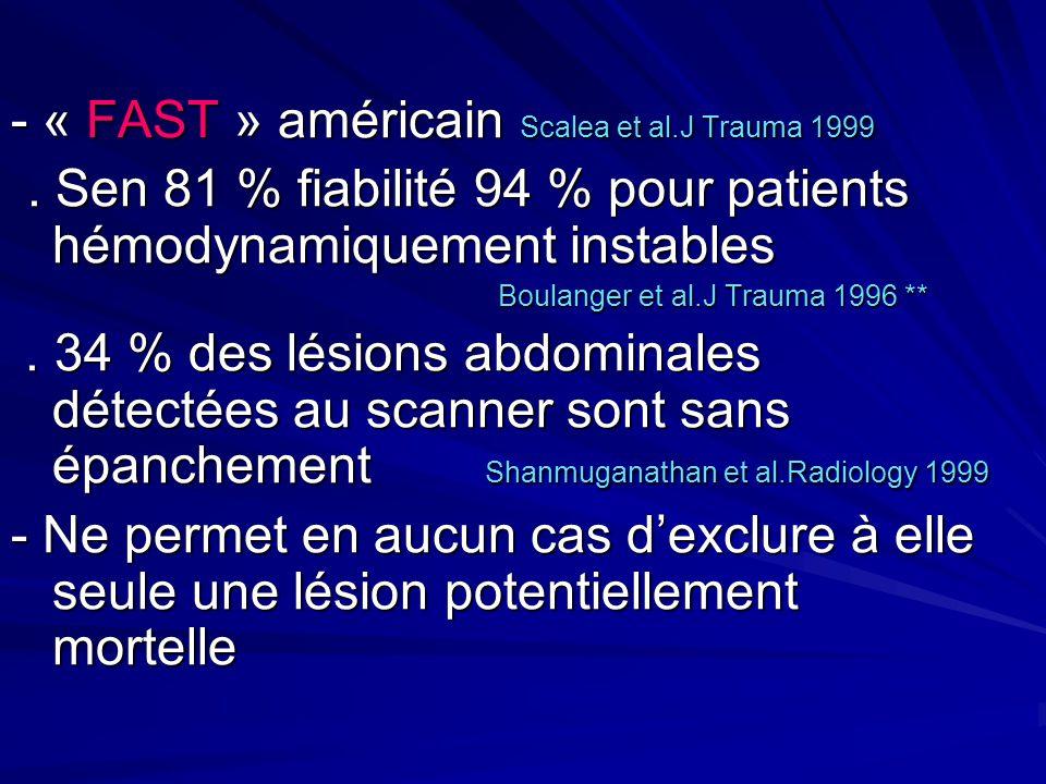 - « FAST » américain Scalea et al.J Trauma 1999