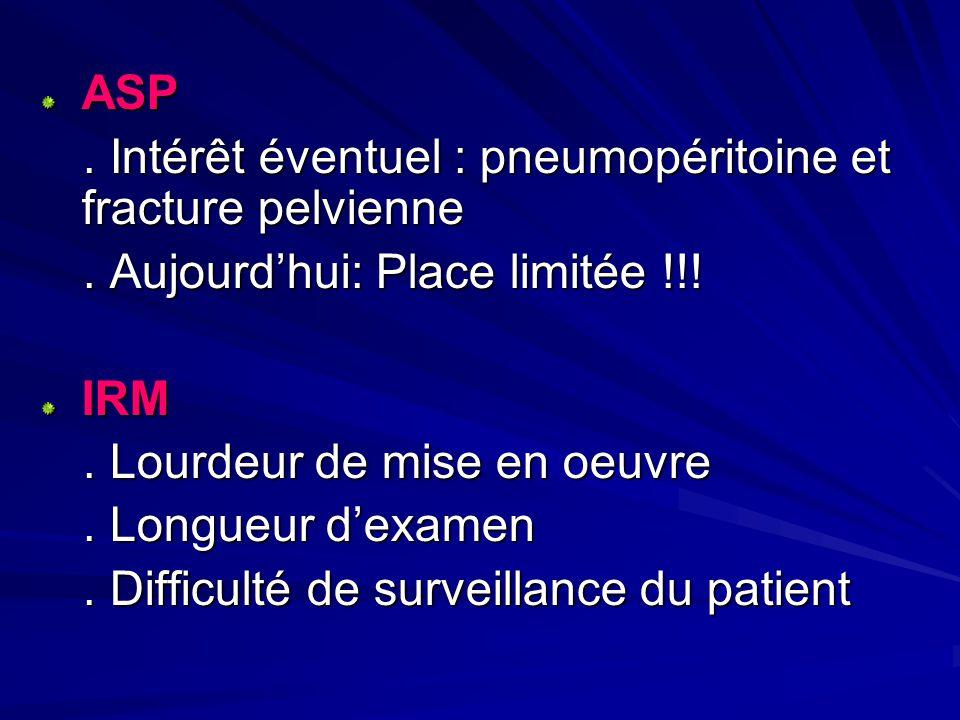 ASP . Intérêt éventuel : pneumopéritoine et fracture pelvienne. . Aujourd'hui: Place limitée !!!