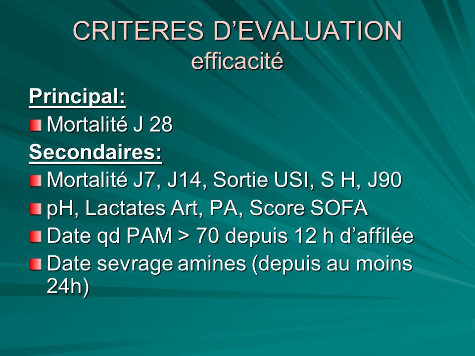 CRITERES D'EVALUATION efficacité
