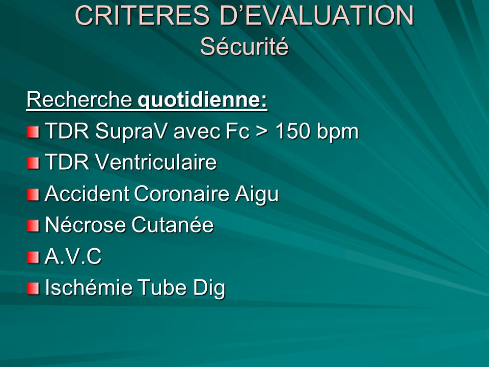 CRITERES D'EVALUATION Sécurité