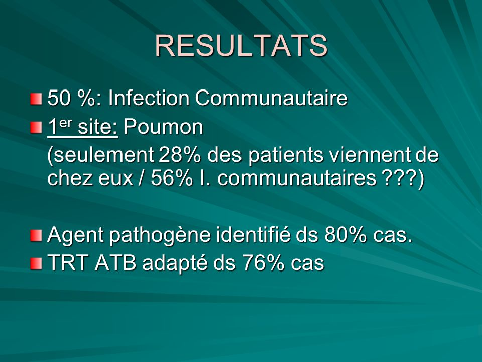 RESULTATS 50 %: Infection Communautaire 1er site: Poumon