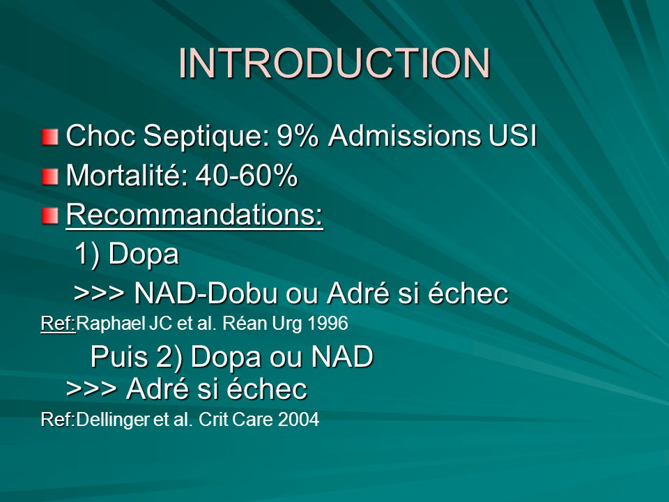 INTRODUCTION Choc Septique: 9% Admissions USI Mortalité: 40-60%