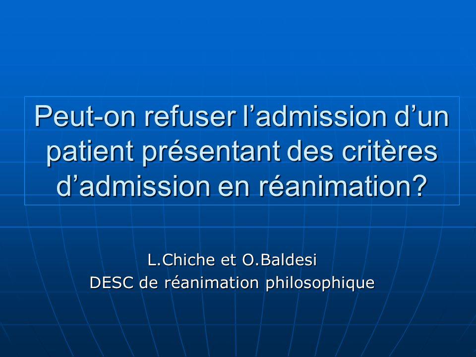 L.Chiche et O.Baldesi DESC de réanimation philosophique