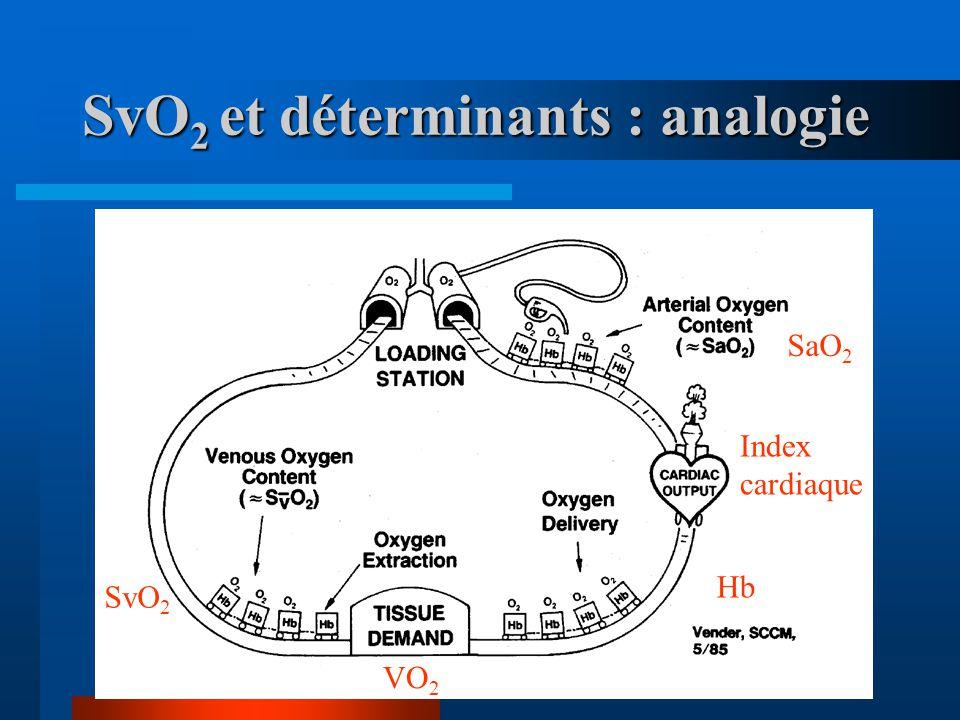 SvO2 et déterminants : analogie