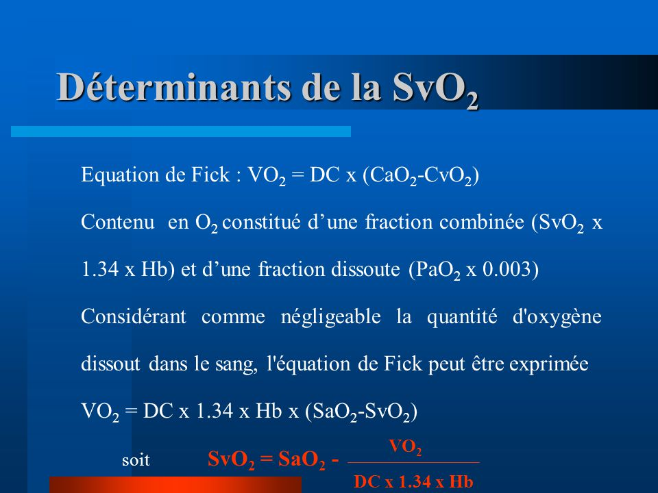 Déterminants de la SvO2 Equation de Fick : VO2 = DC x (CaO2-CvO2)