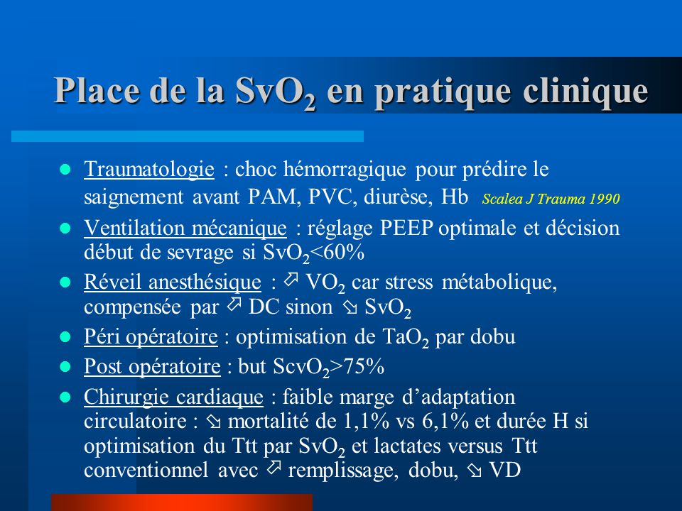 Place de la SvO2 en pratique clinique